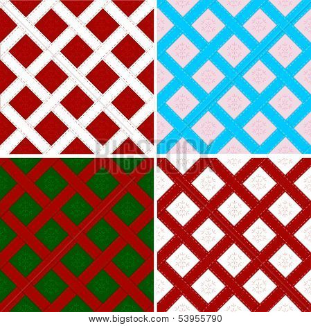 Checked by ribbon Christmas seamless backgrounds set