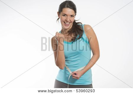 Happy Fit Young Woman Measuring Her Waistline