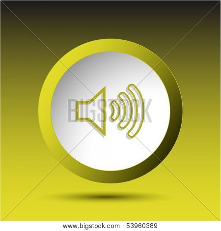 Loudspeaker. Plastic button. Vector illustration.