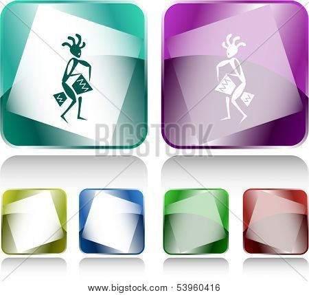 Ethnic little man with drum. Internet buttons. Vector illustration.