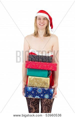 Smiling Mrs. Claus With Lot Of Gifts