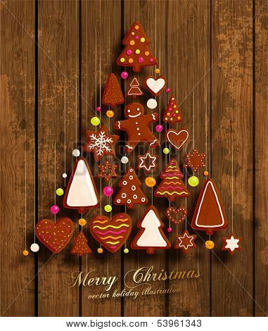 Christmas Tree. Christmas Cookies Set - Gingerbread man, Xmas Tree, Star, Heart. All for Xmas Cards Design. Wood Texture Background.