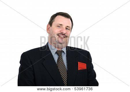 Fat Mature Man Grins