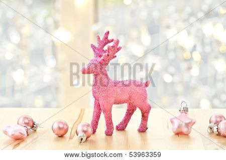 Pink Deer And Christmas Decorations