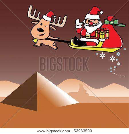 Santa and deer in Egypt