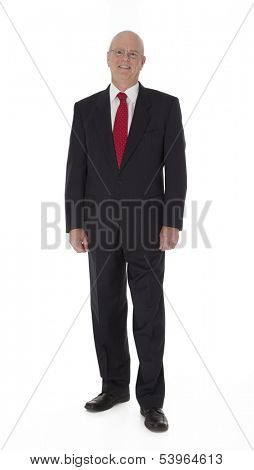 Full length photo of mature businessman standing on white background.