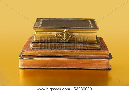 Old Books On Golden Surface