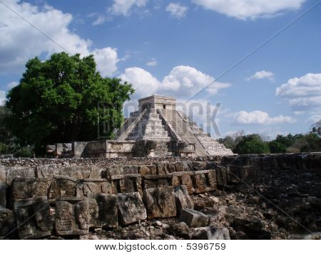 Main Mayan Pyramid From Distance