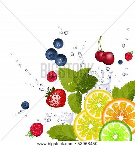 fruit and splash of water