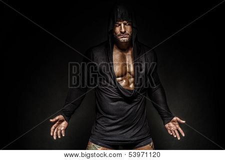 Portrait Of Man In Hood.