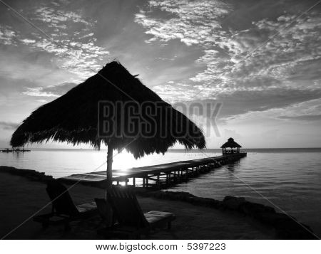 Caribbean Sunrise In Black And White