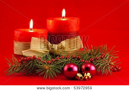 Red Candle With Xmas Tree