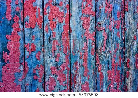 Wood Cracky Blue-red Grunge Texture