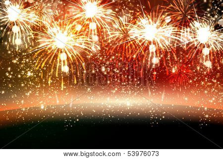 Happy New Year And Christmas Vector Celebration Fireworks Background