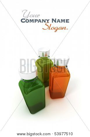 3D rendering of three ample bottles with green and orange liquids