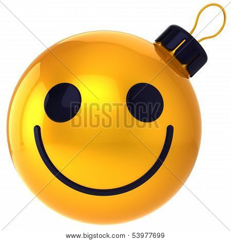 Christmas ball smiley face gold Happy New Year bauble smile face avatar