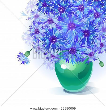 bluebottle bouquet in vase