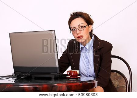 Attractive secretary with eyeglasses