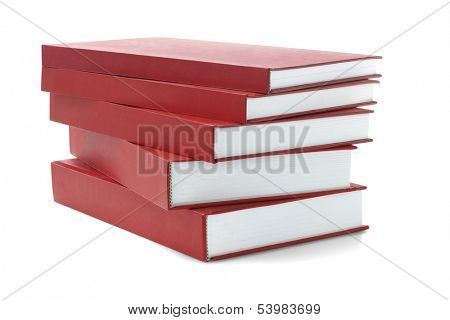 Stack Of Red hard Cover Books On White Background