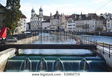 Reuss River In Lucerne.