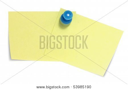 Double sticky note with blue pin, and shadow