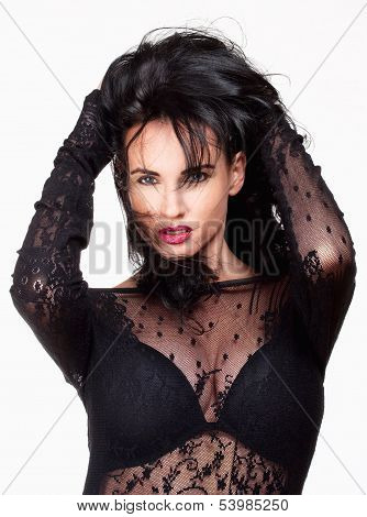Woman With Black Hair In Sexy See-through Dress