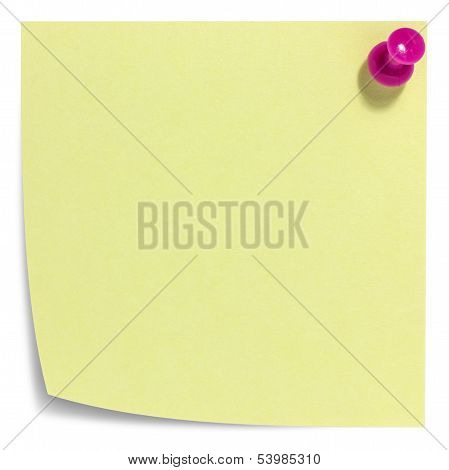 Square sticky note with pink pin, and shadow