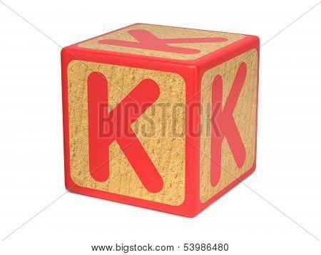 Letter K on Childrens Alphabet Block.