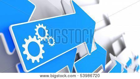 Cogwheel Gear Icon on Blue Arrow.