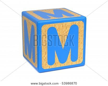 Letter M on Childrens Alphabet Block.