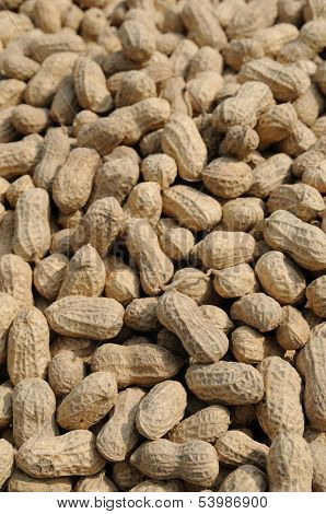Close up of raw peanuts background