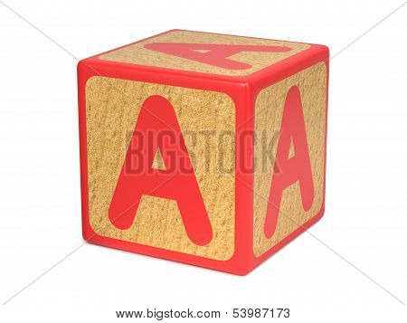 Letter A on Childrens Alphabet Block.