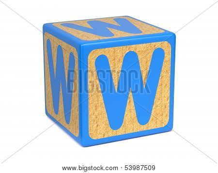 Letter W on Childrens Alphabet Block.