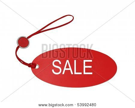 red tag isolated on white background