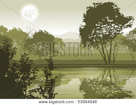River Landscape with Moon and Trees