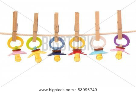 Hanging dummies isolated on white background