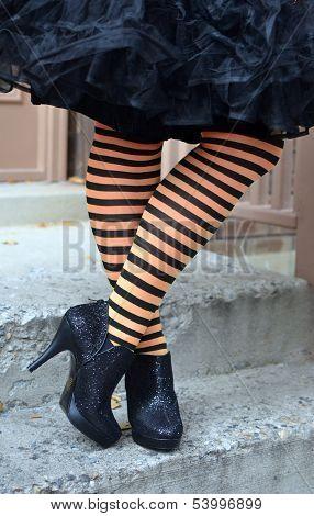 Black Orange Witch Stockings