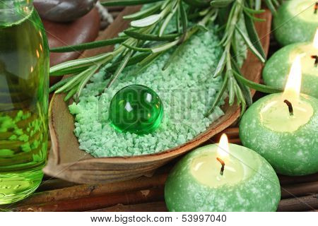 Green herbal spa with seasalt and candle