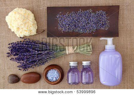 Lavender spa on brown background