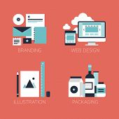 stock photo of packing  - Flat design modern vector illustration icons set of brand identity style web and mobile design illustration objects and packaging design for company branding - JPG