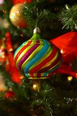 Christmas tree ornament with very shallow depth of field