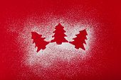 foto of siluet  - Christmas and new year ornaments siluet on red background - JPG