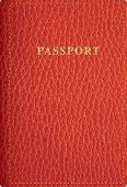 foto of passport cover  - vector red leather passport cover - JPG