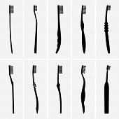 image of tens  - Set of ten toothbrush icons on grey background - JPG