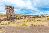 stock photo of urn funeral  - Funerary towers in Sillustani Peru South America - JPG