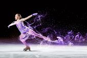 foto of skate  - Little girl figure skating at sports arena - JPG