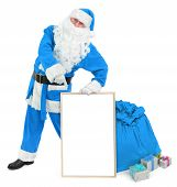 picture of hollow point  - Funny blue Santa with empty white board on white - JPG