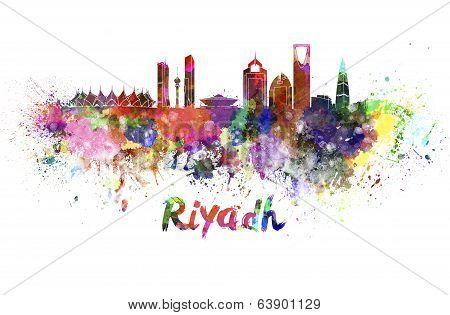 Riyadh Skyline In Watercolor