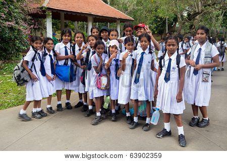 KANDY, SRI LANKA - FEBRUARY 26, 2014: Students from Girl's High School, the oldest school for girls in Kandy, Sri Lanka.