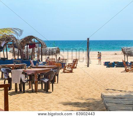 HIKKADUWA, SRI LANKA - FEBRUARY 20, 2014: Lounge bar at Hikkaduwa Beach, well known tourist international destination for board surfing.